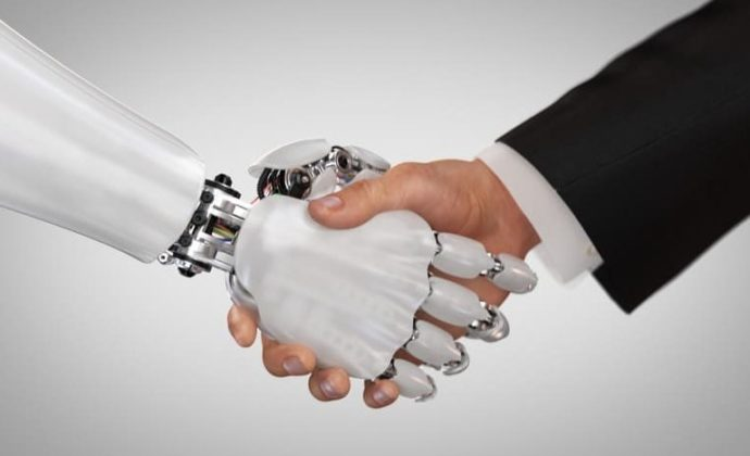 robot and human handshake 768x520